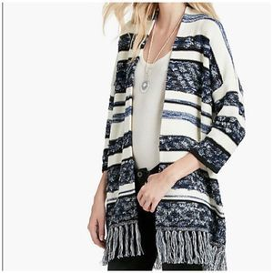 Lucky Brand striped fringe cardigan sweater small